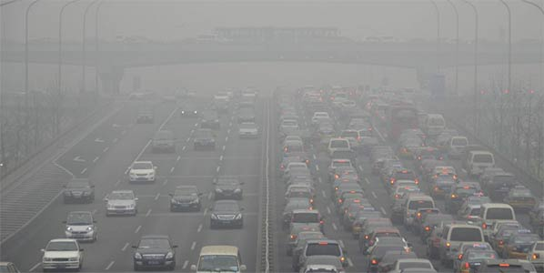 motorway covered in smog